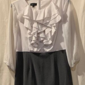 Spence Ruffle Top Dress with Sheer Sleeves Size 4